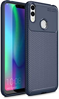 Compatible with Huawei Honor 8C Beetle Series Carbon Fiber Texture Pro TPU Case cover - Blue.