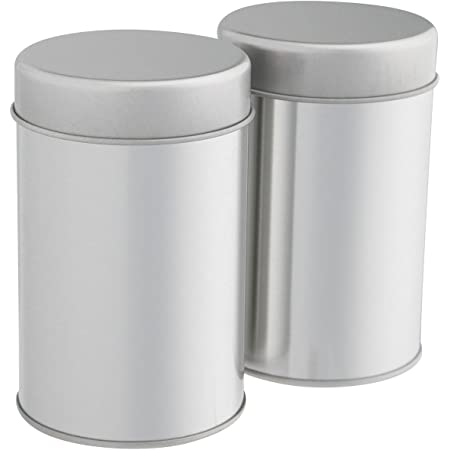 Tea Tin Canister with Airtight Double Lids for Loose Tea - Small Kitchen Canisters for Tea Coffee Sugar Storage, Loose Leaf Tea Tin Containers by SilverOnyx - Tea Canister - 2 pc