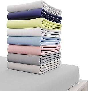 Dreamzie - Drap Housse 140x190 cm - 100% Coton Jersey Certifié Oeko-TEX® - Gris - pour Matelas 140 x 190 x 22 cm avec Gran...