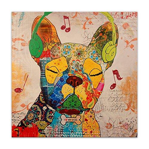 World Art, TWAS362X1, Bouledogue Francese Pop Art, Dipinti su telaio estetico, 80 x 80 x 3.5 Cm