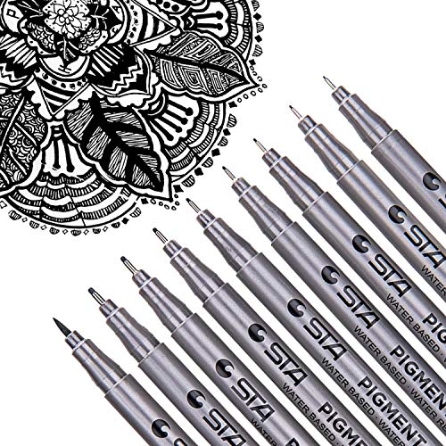 Dyvicl Black Micro-Pen Fineliner Ink Pens - Waterproof Archival Ink Micro Fine Point Drawing Pens...