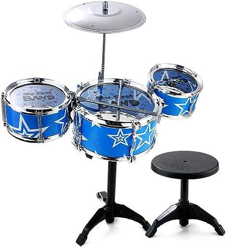 LINGLING-Tambour Tambour Enfant Percussion Cadeau en Plastique Fille Garçon en Plastique Apprendre Percussions (Couleur   Bleu, Taille   3 Drums)