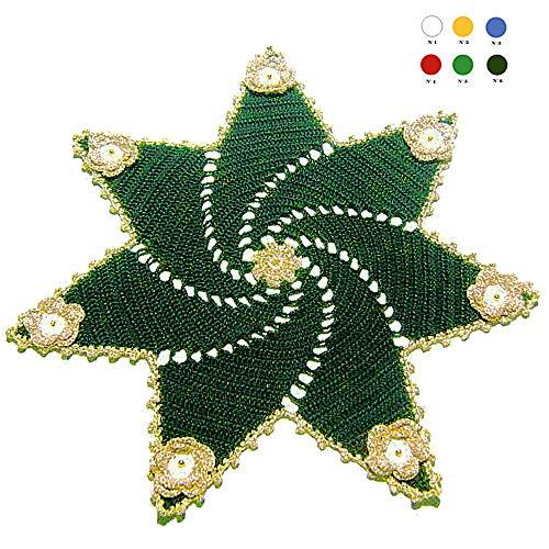 Tapete de ganchillo verde y dorado para Navidad en algodón ...