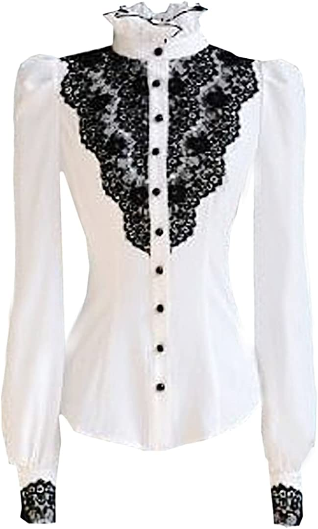 Choies Women's Vintage White with Black Lace Stand-Up Collar Puff Long Sleeve Shirt