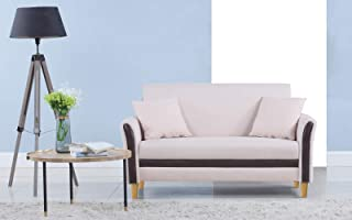 Divano Roma Furniture Modern 2 Tone Small Space Linen Fabric Loveseat (Beige)