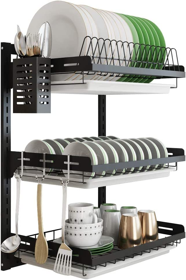 Hanging Tampa Mall Dish Drying Rack Wall Tier Junyuan 3 Genuine Drainer Mount