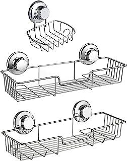 シャンプーラック石鹸置き3個セット 強力吸着 吸盤ラック シャンプーラック シャワーキャディー 錆びにくいステンレス キッチン 収納ラック お水切り バスラック キッチン用品 浴室用品 洗面所 お風呂 壁に穴を開けない