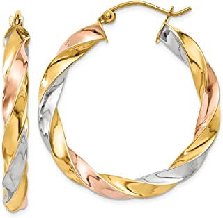 14k Tri Color Yellow White Gold Twisted Hoop Earrings Ear Hoops Set Fine Jewelry Gifts For Women For Her