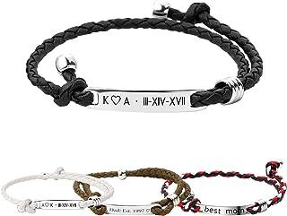 MignonandMignon Personalized Bracelet Men Custom Leather Bracelet Engraved Bracelet for Men Inspirational Jewelry Gift Graduation Gift Fathers Day Gift for Him Engraved Gift for Dad - MRBR