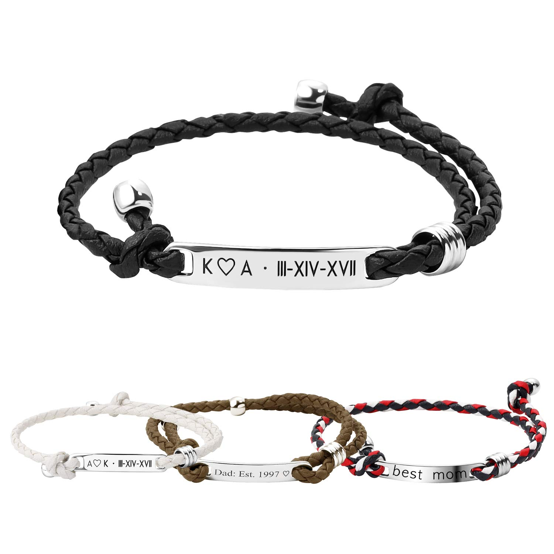Personalized Easy-to-use Bracelet Men Custom Brace Engraved Leather Nippon regular agency