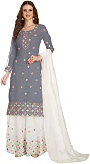 FIBREZA Women's Georgette Embroidered Semi Stitched Salwar Suit Sharara
