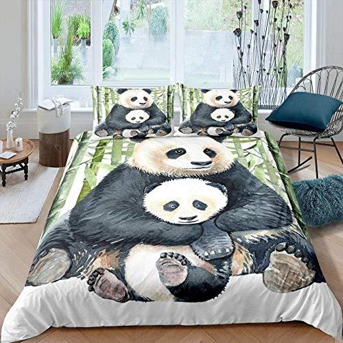 Meimall Juego De Ropa De Cama De 3 Piezas Lindo Animal Panda Bambú 220X220 Cm Funda Nórdica Grande 3 Piezas Moderno Reversible Impreso Microfibra Edredón Ropa De Cama Conjunto Cierre De Cremallera