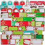 144 PCS Christmas Sticker Labels, Self Adhesive Name Tags Stickers, Santa Snowmen Xmas Tree Deer Festival Birthday Wedding Holiday Decorative Decals Present Labels