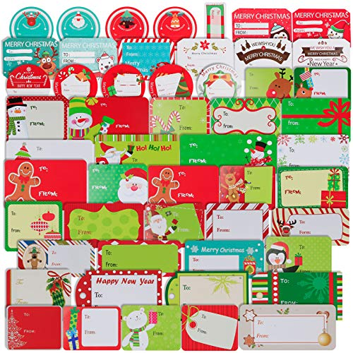 144 PCS Christmas Sticker Labels, Self Adhesive Name Tags Christmas Wrapping Paper Stickers, Santa Snowmen Xmas Tree Deer Festival Birthday Wedding Holiday Decorative Decals Present Labels