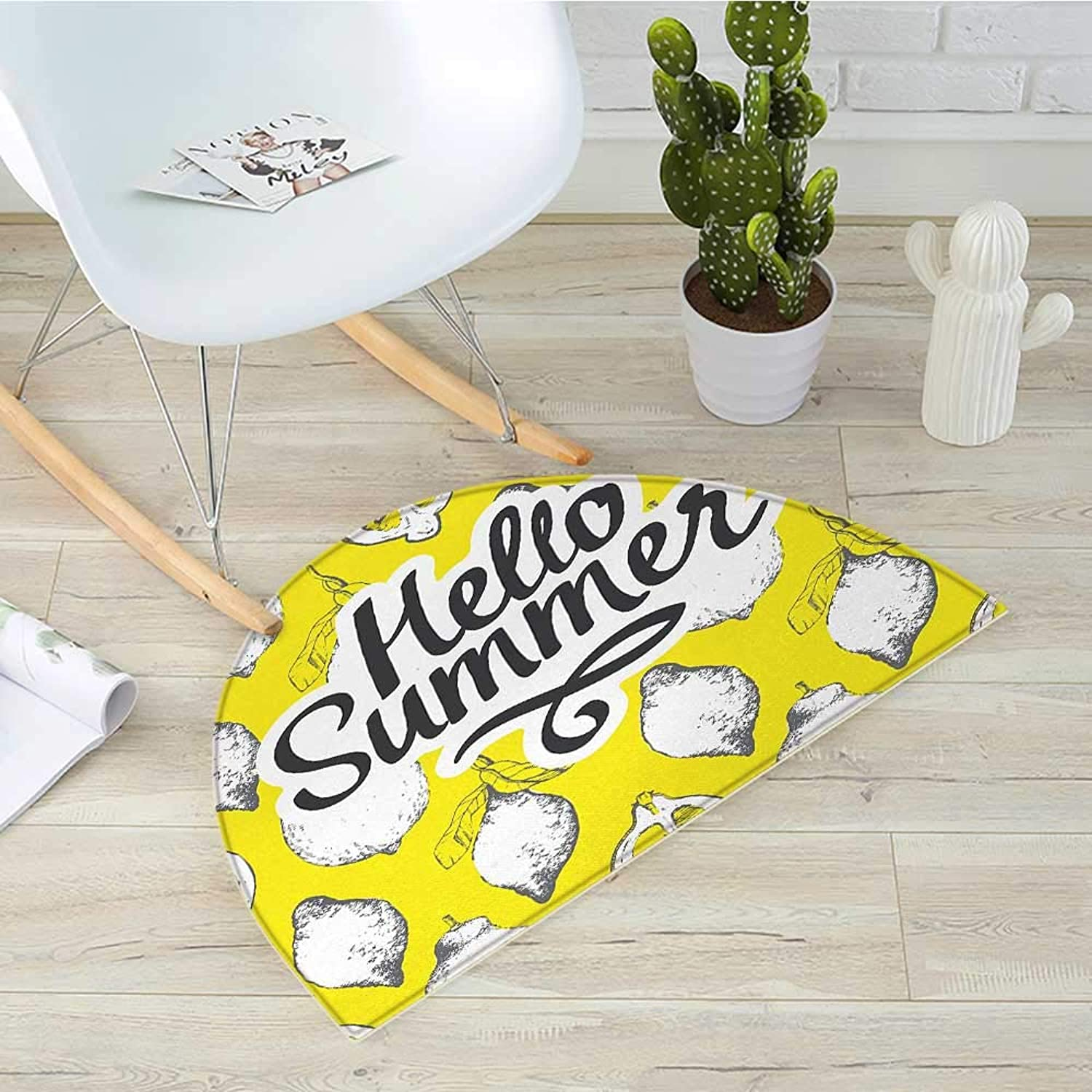 Hello Half Round Door mats Sketch Style White Lemons on Vivid Yellow Background with Print Hello Summer Bathroom Mat H 31.5  xD 47.2  Earth Yellow White