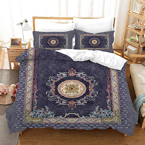 Duvet Cover Double Bed 200x200 cm Bedding set 3 Piece with 2 Pillowcases 50x75 cm Persian style 3D Printing Design Soft Microfiber Quilt Cover Set with Zipper