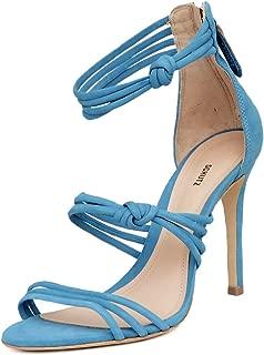Schutz Suely Ocean Blue Nubuck Strappy High Heel Single Sole Dainty Sandals