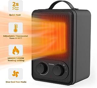 FOCHEA Calefactor Cerámico Eléctrico con Termostato Ajustable, 2 Potencias de Calor (1000/1800W) y Función Ventilador, Protección contra Sobrecalentamiento, Negro