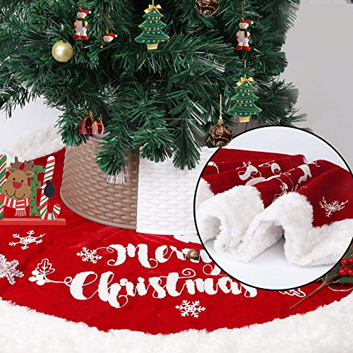 DR.DUDU Weihnachtsbaum-Rock, 121,9 cm, rot, doppellagig, Weihnachtsbaum-Dekoration für Weihnachten, Winter, Urlaub, Zuhause, Party-Dekoration