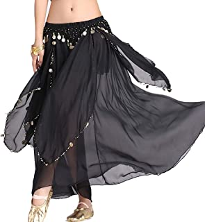 ZLTdream Women's Belly Dance Chiffon Skirt with Coins