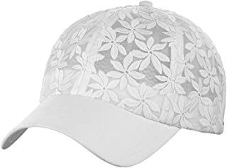 e62d71efb10 C.C Women s Floral Lace Panel Vented Adjustable Precurved Baseball Cap Hat