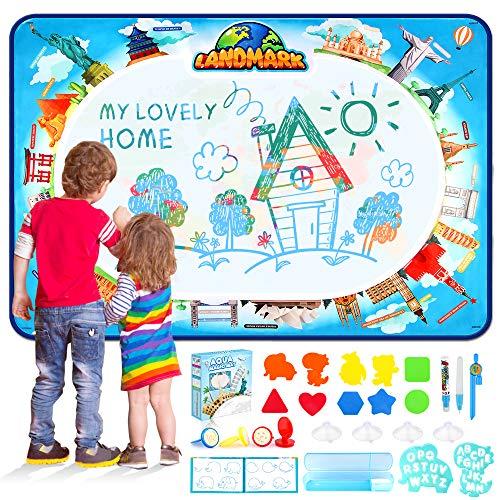 Baztoy Aqua Magic Doodle Matte,Large Wasser Doodle Matte(120*90CM) mit 26 Pcs Accessories, Kinderspielzeug für Jungen Mädchen 2 3 4 5 6 7 Jahren Lernspielzeug Spiele Geschenk Garten Indoor Outdoor