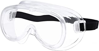 CARFIA Safety Goggles Over Glasses for Home & Workplace, UV400 Clear Anti-Fog Impact Resistant Wrap-Around Lens