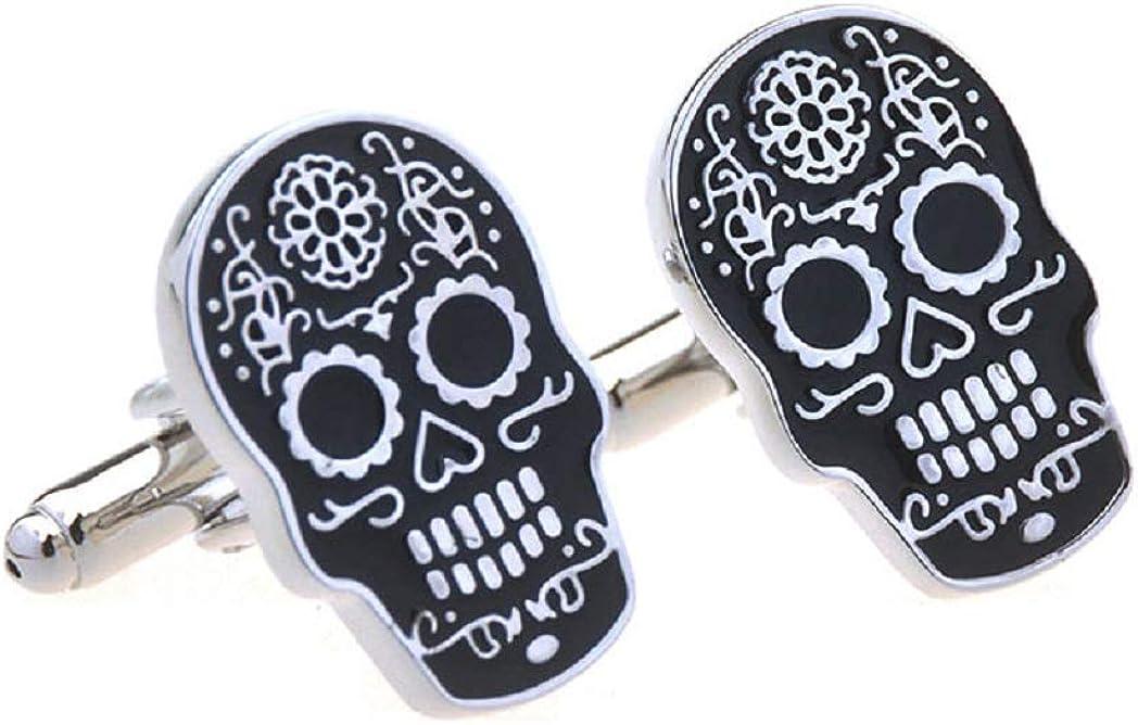 MRCUFF Skull Day of The Dead Dia de Los Muertos Pair of Cufflinks in a Presentation Gift Box & Polishing Cloth