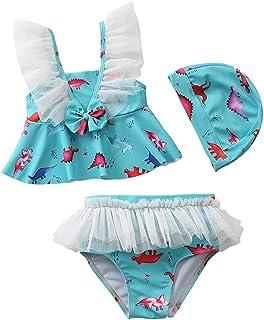 AOAO Baby Girls Swimsuit Swimwear Kids Print Flying Sleeve Tulle Swimming Dress with Swim Cap