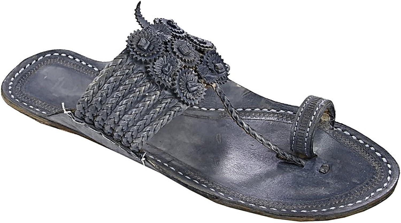 KOLHAPURI CHAPPAL Original Breathtaking Seven Braids Grey for Men Slipper Sandal