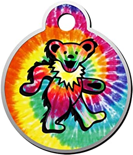 BSARRE Bears Tie Dye Dog Cat Tags Personalized Double Sided Stainless Steel Round Pet ID Tag