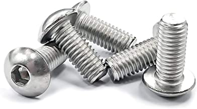 M5-0.8x12mm (6mm to 100mm Available) Button Head Socket Cap Bolts Screws, 304 Stainless Steel 18-8, Fully Machine Thread, Bright Finish, 200 PCS by Eastlo Fastener
