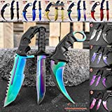 Tactical Knife Survival Knife Hunting Knife Fixed Blade Knife Combo Razor Sharp Edge Camping Accessories Camping Gear Survival Kit Survival Gear Tactical Gear 52319 (Rainbow)