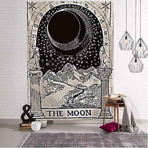 N / A Tapiz de Luna y Estrellas Mandala Indio Tapiz de Encaje Hippie montado en la Pared decoración Boho Tapiz de brujería psicodélica decoración del hogar Tapiz de Fondo Tela A4 220x235cm