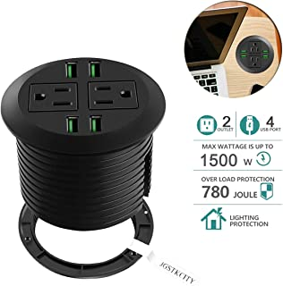Desktop Power Grommet with USB,Recessed Power Socket with 2 AC Outlets and 4 USB Charging Ports. Desk Grommet Outlet 3 1/8in Hole,for Kitchen Table/Conference Room Outlet