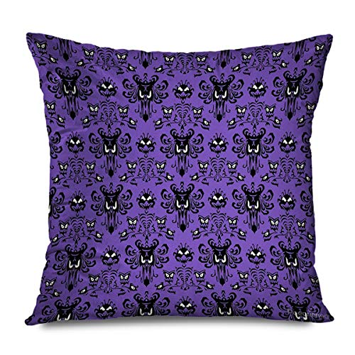 TETUDA Throw Pillow Cover Square 18'x18' Happy Halloween Haunted Mansion Mystic Skull Horror Grim Grinning Ghosts Anime Art Pattern Purple Black Decorative Pillowcase Home Decor Zippered Cushion Case