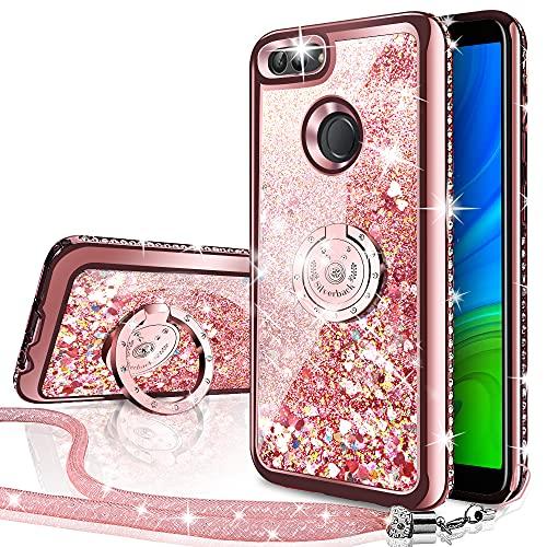 Miss Arts Cover Huawei P Smart 2018,[Silverback] Custodia Glitter di in TPU con Supporto, Pendenza Colore Diamond Liquido Cover Case per Huawei P Smart 2018 -Oro Rosa