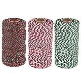 300M Navidad Cuerda de Algodón Natural Cordel Algodón Cordel Verde Rojo y Blanco decorativo Cordel Hilo de panadero/cordel de carnicero/cordel de jardín para Envoltorio de Regalo Decoración Jardinería