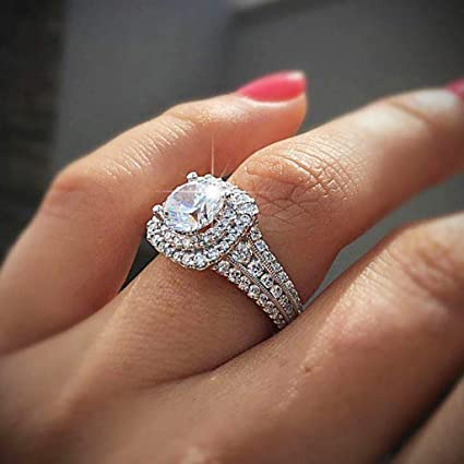 Amazon.com : CapsA Ring Round Diamond Wedding Band Accessory Rings Size 5-10 White Diamond Bridal Halo Engagement Ring : Sports & Outdoors