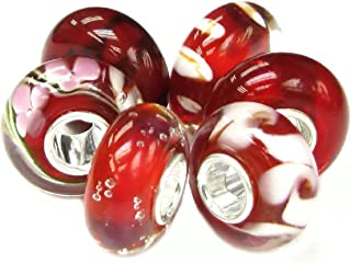 6pcs Sterling Silver Colorful Round European Style Glass Bead Charm Bundle