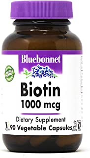 Bluebonnet Nutrition Biotin 1000 Mcg Vegetable Capsules, Biotin is a B Vitamin That Helps Make Keratin, Vegan, Vegetarian,...