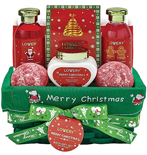 Bath and Body Christmas Gift Basket For Women – Strawberry & Sandalwood Fragrance - Holiday Home Spa Set, Includes Merry Christmas Body Lotion, 2 Oversized Bath Bombs, Bath Salt, Weaved Basket & More