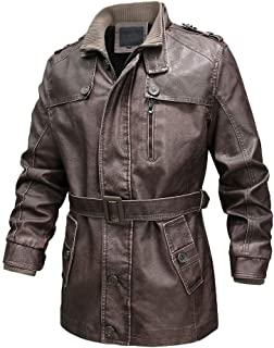 wuliLINL Men Leather Mid Coat with Belt, Vintage Zipper Sherpa Lined Stand Collar Warm Coats for Men