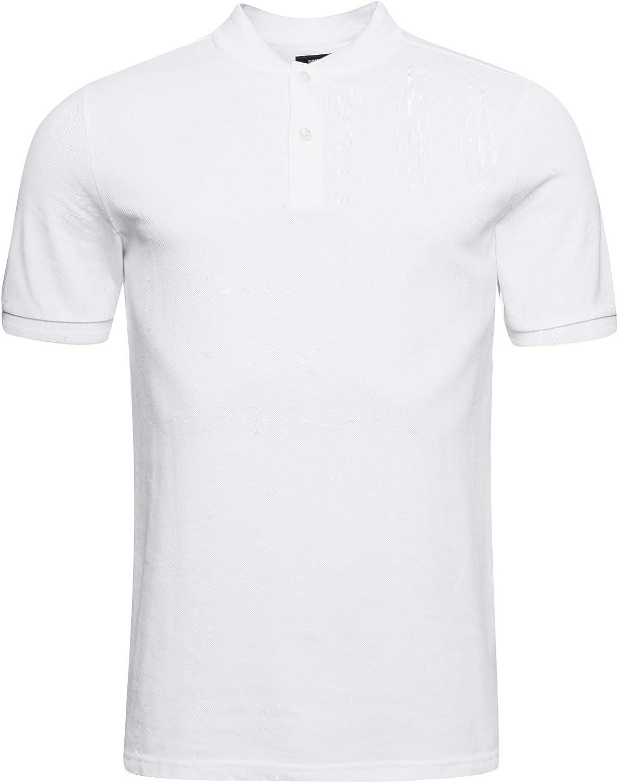 SUPERDRY Organic Cotton Henley Polo 卓抜 Shirt Collar 最安値 Pique
