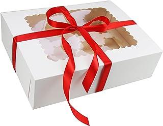 Lot de 15 boîtes à cupcakes blanches 12 trous, boîtes à gâteaux pour pâtisseries, cookies et muffins, boîtes à pâtisserie ...