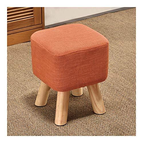 Repose-pieds, support en bois rembourré pouf tabouret pouf-carré (Couleur : Orange)