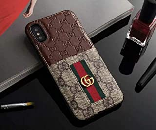 Phone Cases for iPhone Xs Max - New Classic Elegant Luxury PU Leather Style Cellphone Protection Back Cover Case Fashion Designer Have Card Slot Compatible with Apple iPhone Xs Max(Brown)