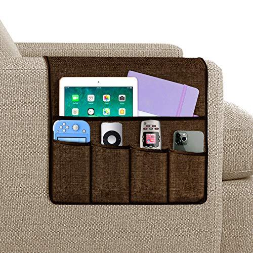 Joywell Sofa-Armlehnen-Organizer, Fernbedienungshalterung für Liegestuhl, Sessel-Caddy, mit 5 Taschen für Zeitschriften, Tablet, Telefon, iPad, braun