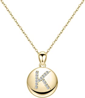"""Turandoss Letter Initial Necklace for Women Girls, 16"""" Round Disc Engraved CZ Initial Necklace 14K Gold White Gold Plated Letter Necklaces for Teen Girls"""