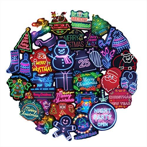 Naugust Juego de 50 pegatinas navideñas estilo neón, pegatinas de graffiti, pegatinas para parachoques para coche, monopatín, equipaje, bicicleta, maleta, portátil